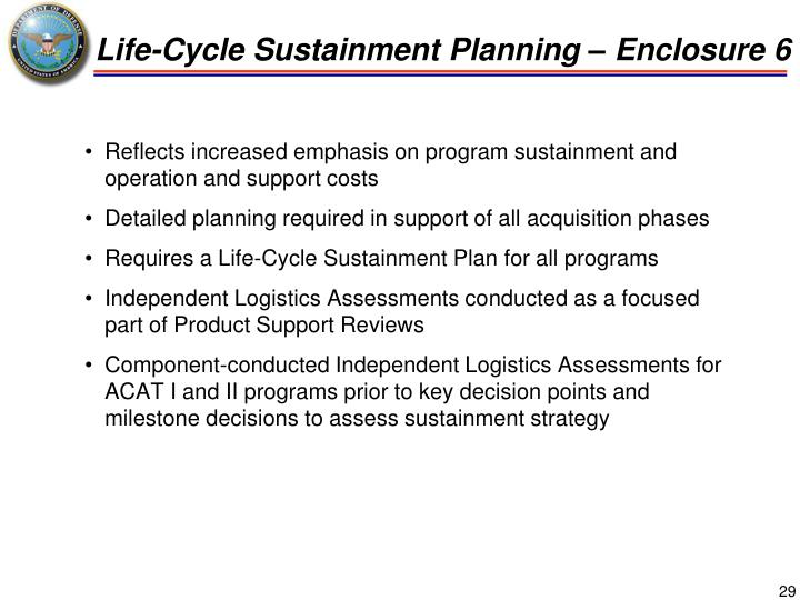 Life-Cycle Sustainment Planning – Enclosure 6
