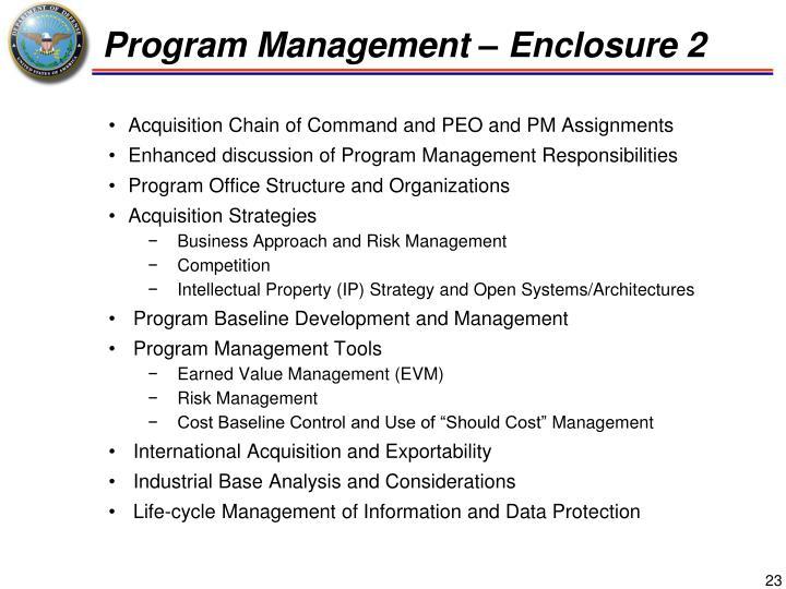 Program Management – Enclosure 2