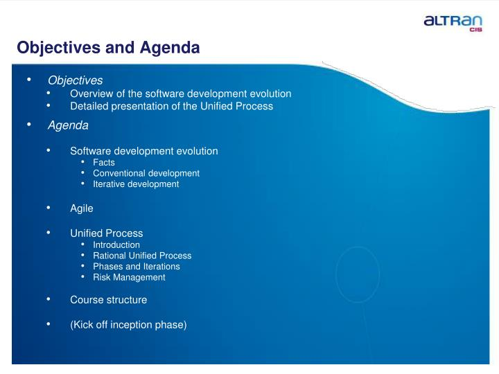 Objectives and Agenda