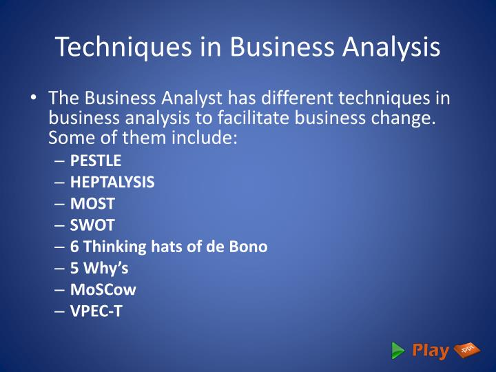 Techniques in Business Analysis