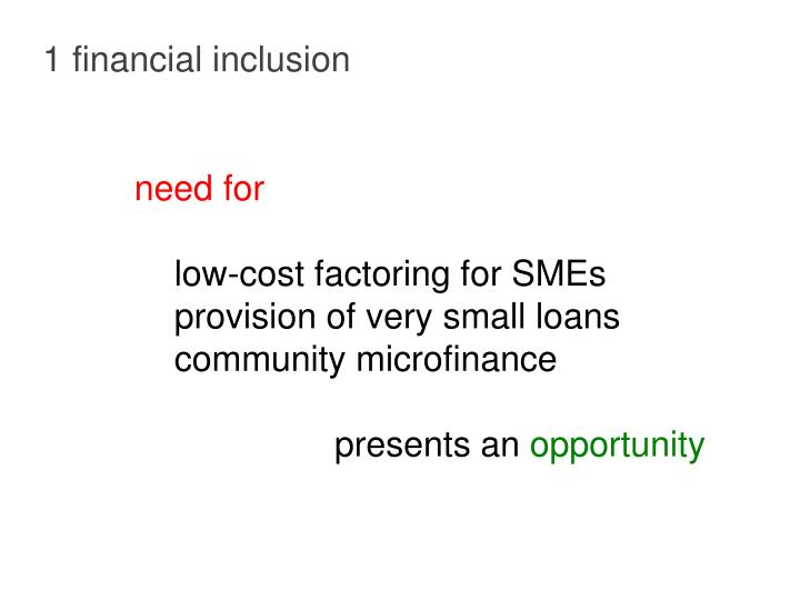1 financial inclusion