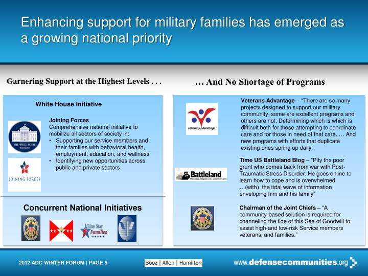 Enhancing support for military families has emerged as a growing national priority