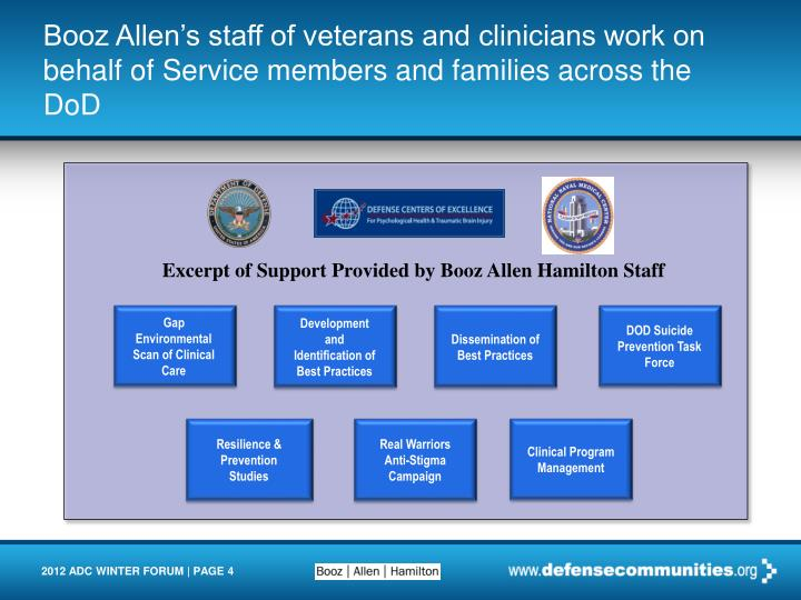 Booz Allen's staff of veterans and clinicians work on behalf of Service members and families across the DoD