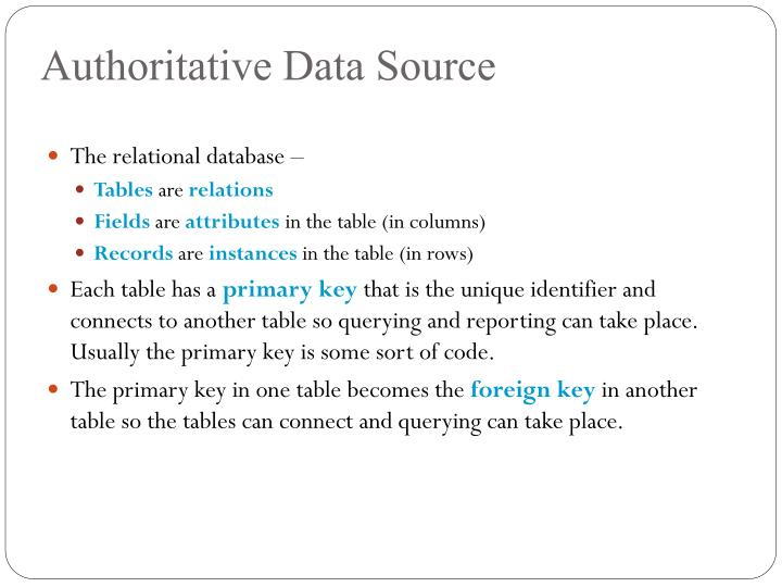 Authoritative Data Source