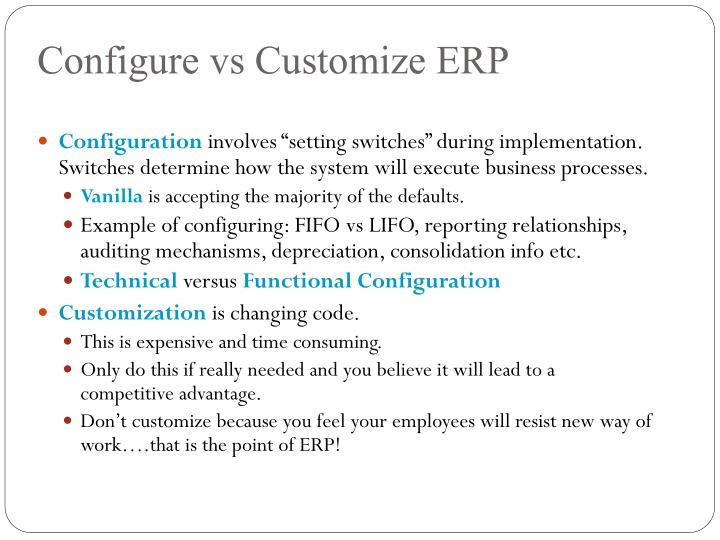 Configure vs Customize ERP