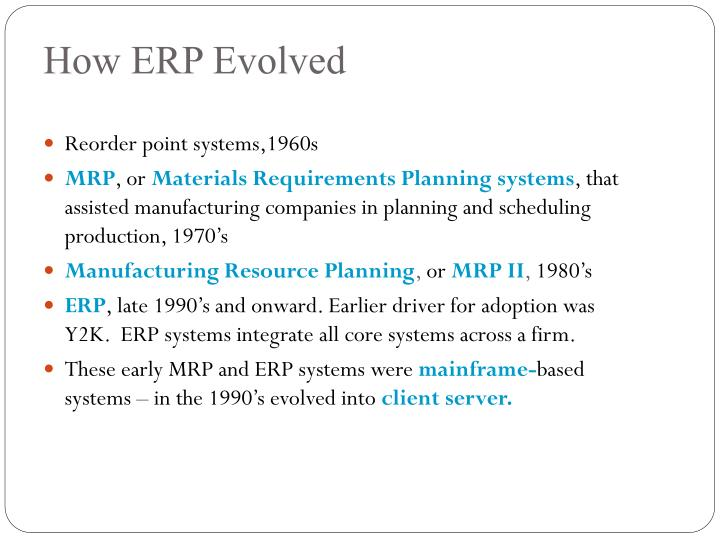 How erp evolved