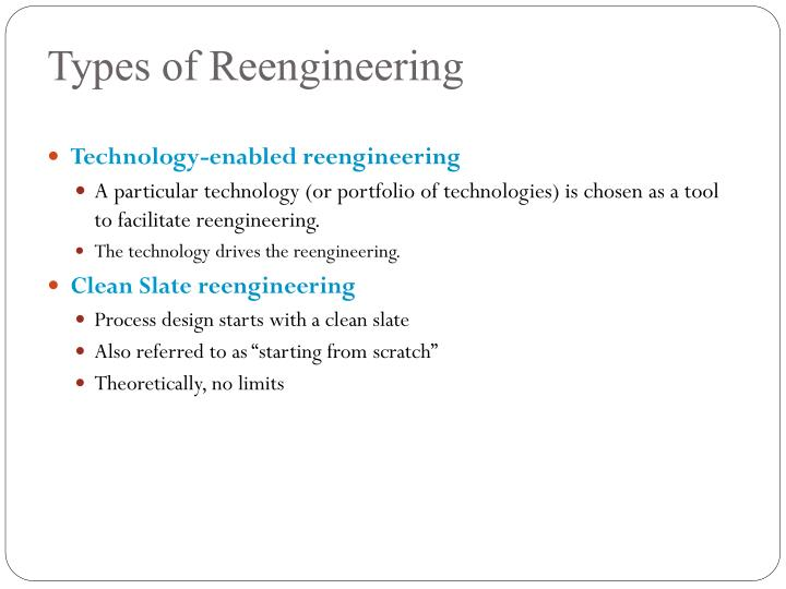Types of Reengineering