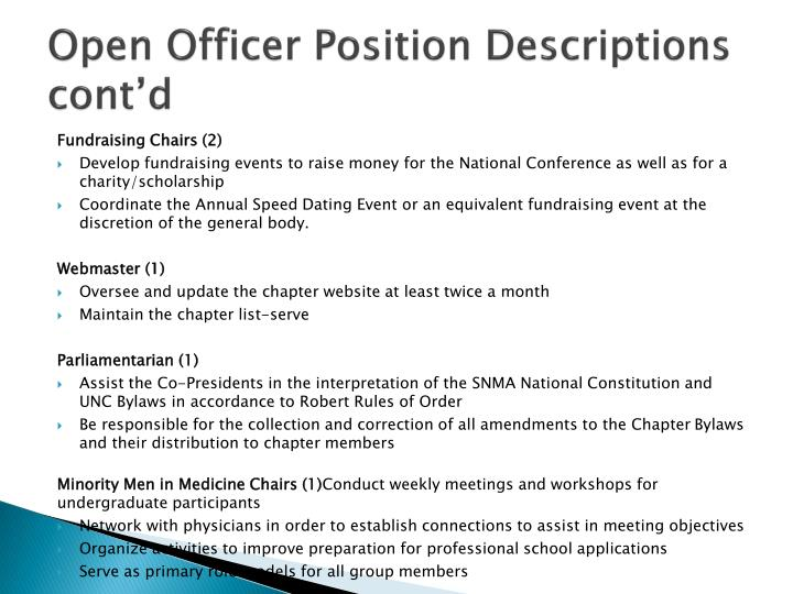 Open Officer Position Descriptions cont'd