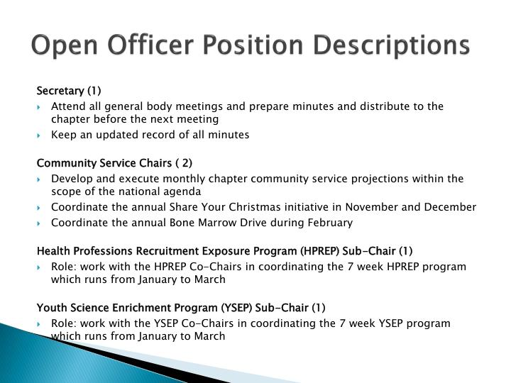 Open Officer Position Descriptions