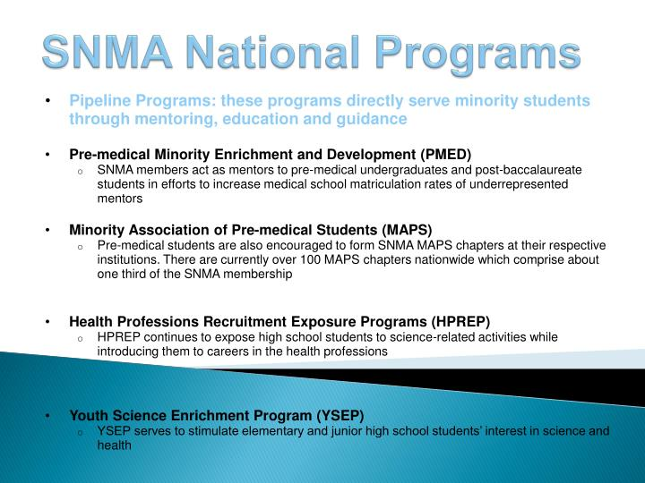 Pipeline Programs: these programs directly serve minority students through mentoring, education and guidance