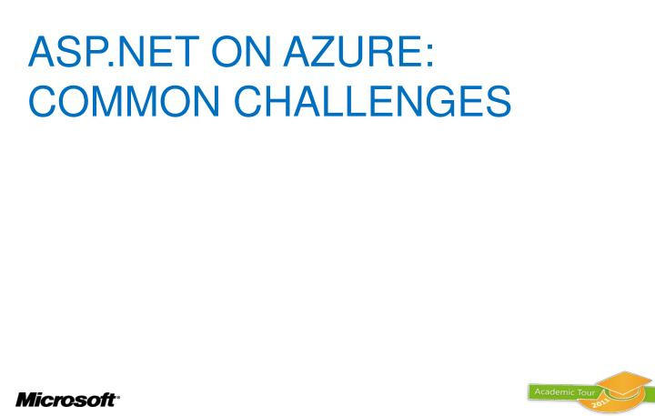 ASP.NET ON AZURE: