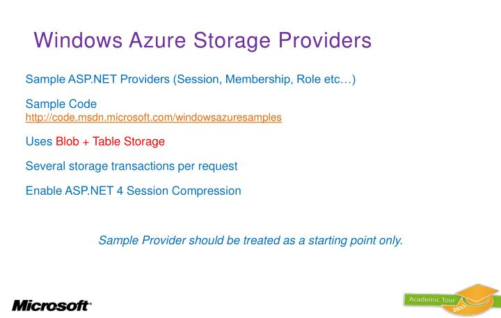 Windows Azure Storage Providers