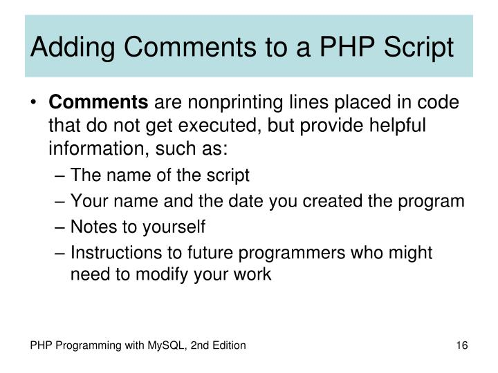Adding Comments to a PHP Script