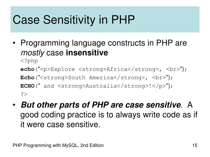 Case Sensitivity in PHP