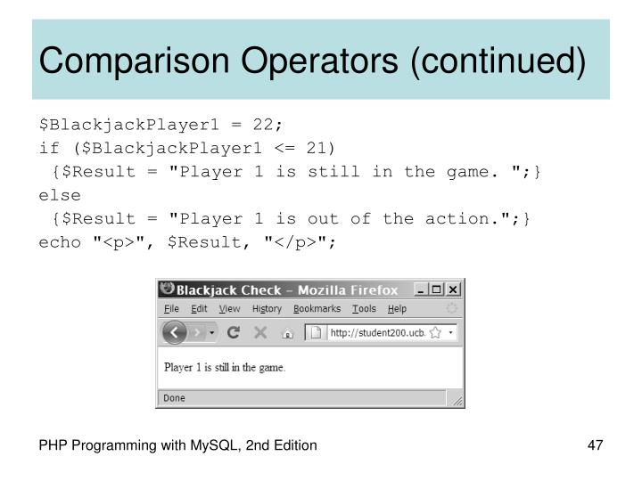 Comparison Operators (continued)