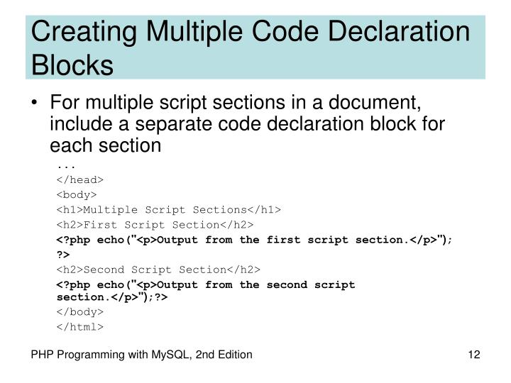 Creating Multiple Code Declaration Blocks
