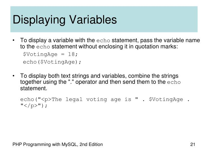 Displaying Variables