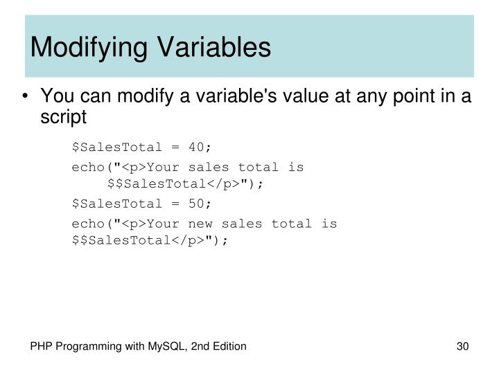 Modifying Variables