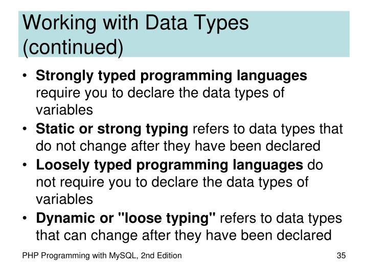 Working with Data Types (continued)