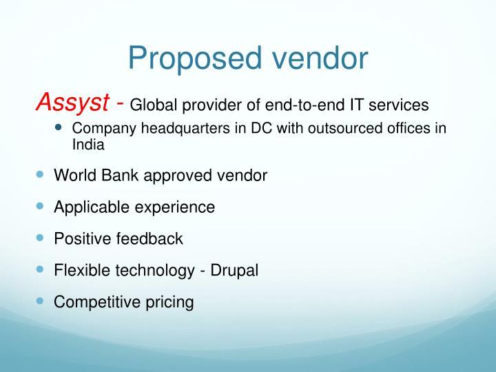 Proposed vendor