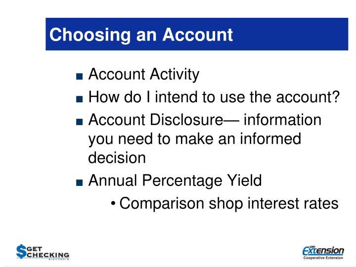 Choosing an Account