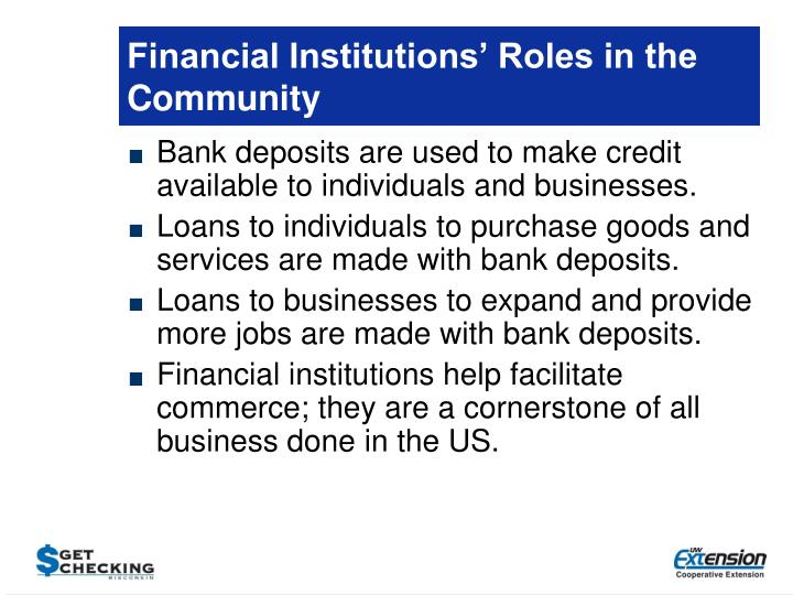 Financial Institutions' Roles in the Community