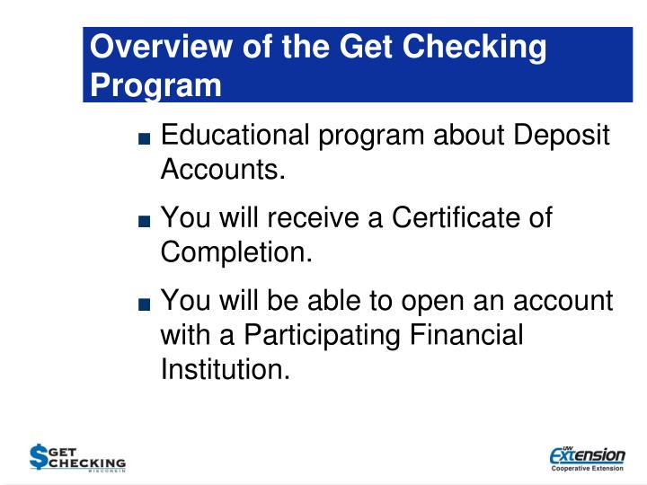 Overview of the Get Checking Program