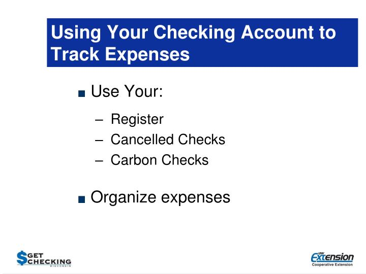 Using Your Checking Account to Track Expenses