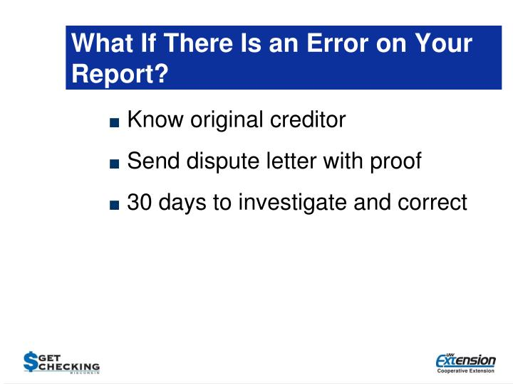 What If There Is an Error on Your Report?