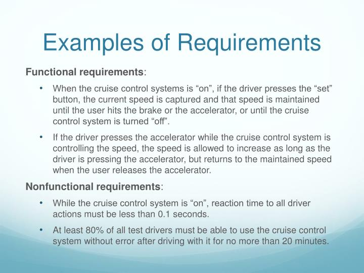 Examples of Requirements