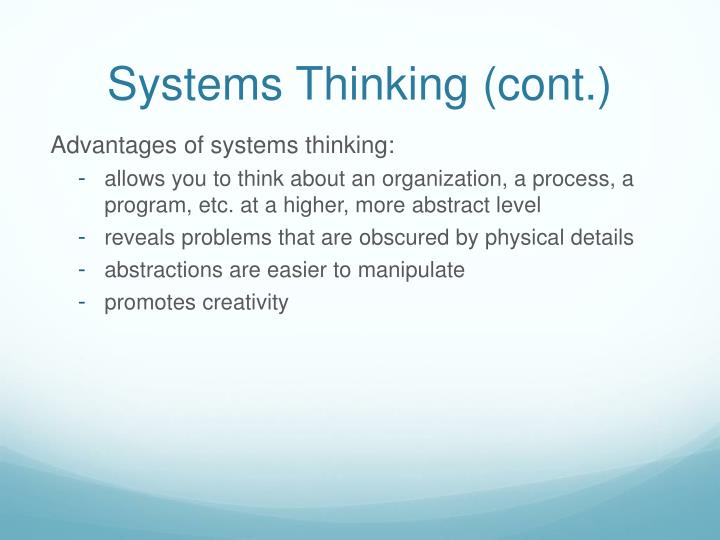 Systems Thinking (cont.)