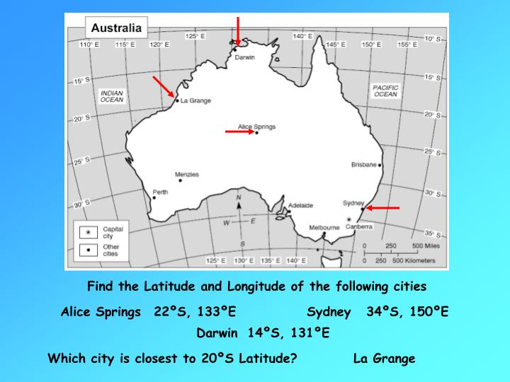 Find the Latitude and Longitude of the following cities