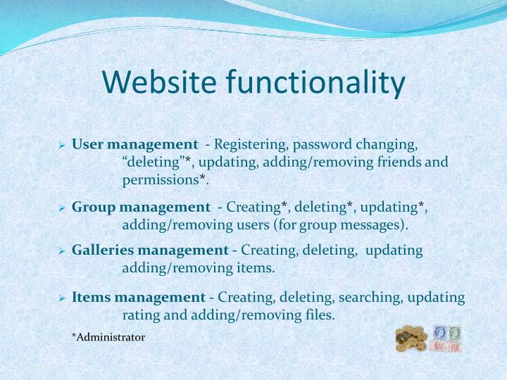 Website functionality