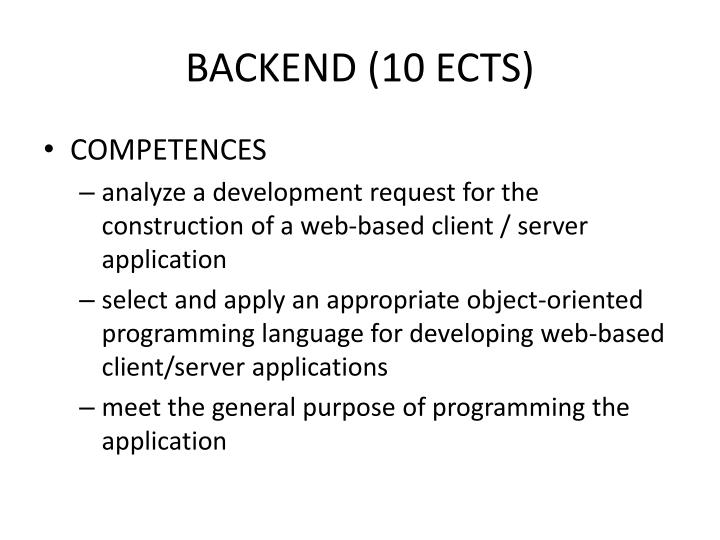 BACKEND (10 ECTS)