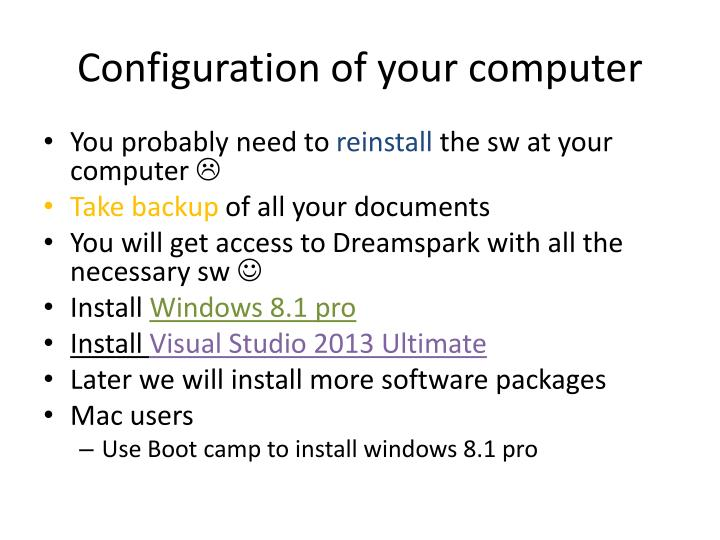 Configuration of your computer