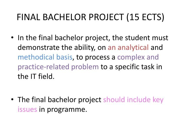 FINAL BACHELOR PROJECT (15 ECTS)