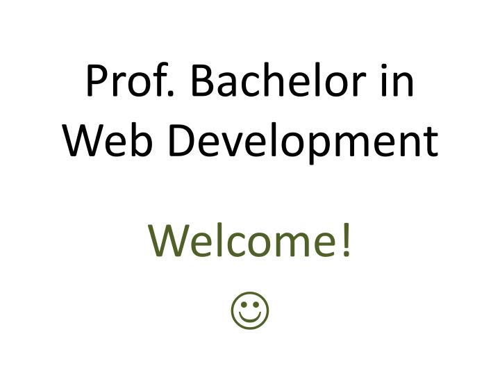 Prof bachelor in web development