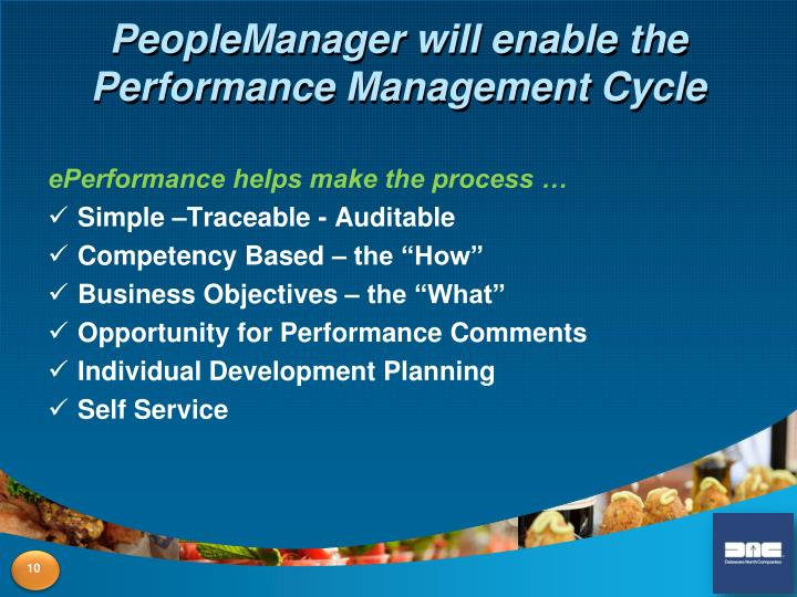 PeopleManager will enable the Performance Management Cycle