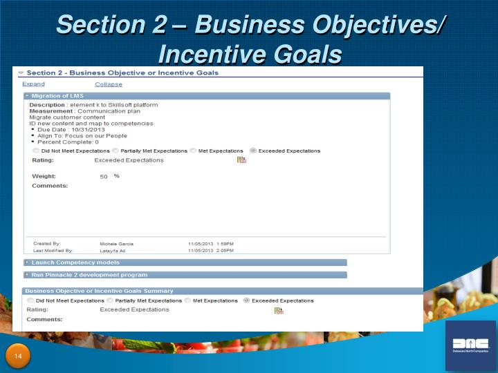 Section 2 – Business Objectives/ Incentive Goals