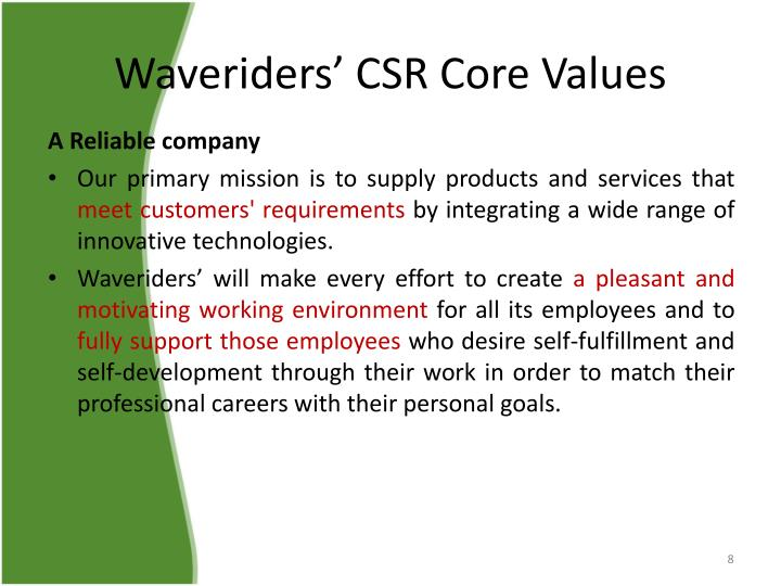 Waveriders' CSR Core Values