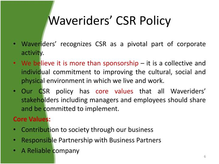 Waveriders' CSR Policy