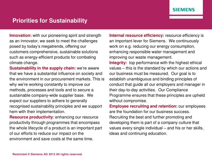 Priorities for Sustainability