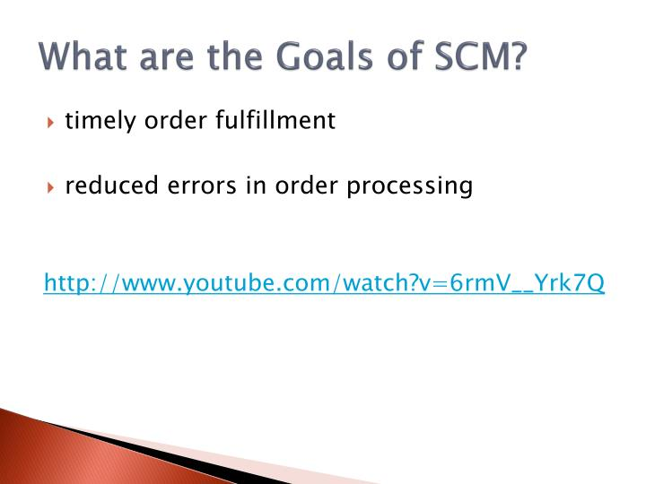 What are the Goals of SCM?