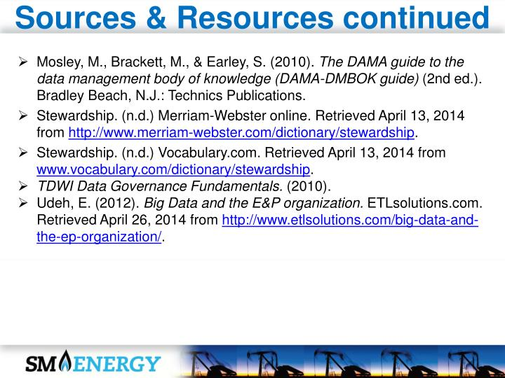 Sources & Resources continued