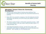 benefits of factory built housing