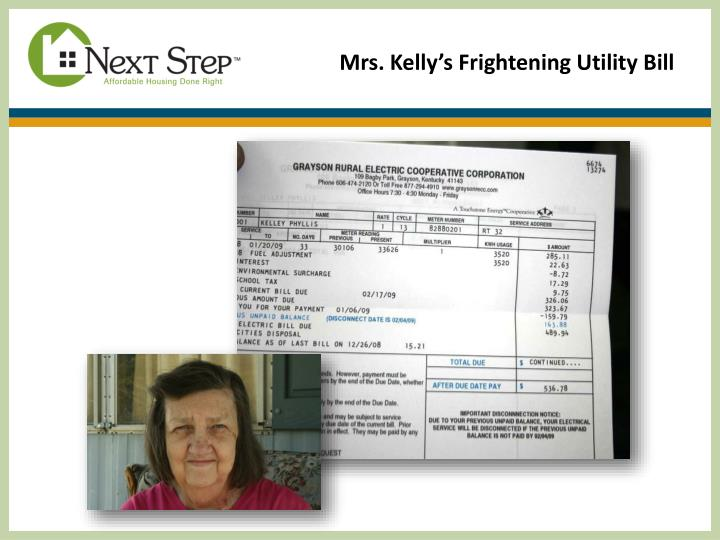 Mrs. Kelly's Frightening Utility Bill