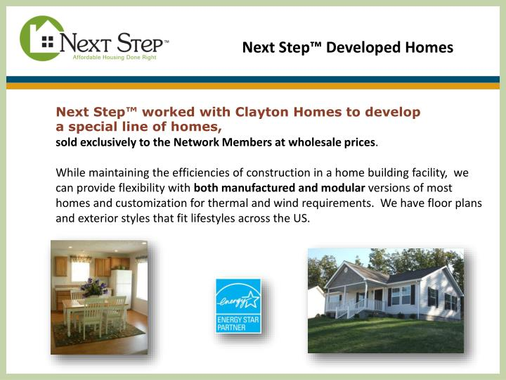 Next Step™ Developed Homes