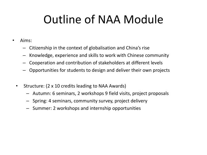 Outline of NAA Module