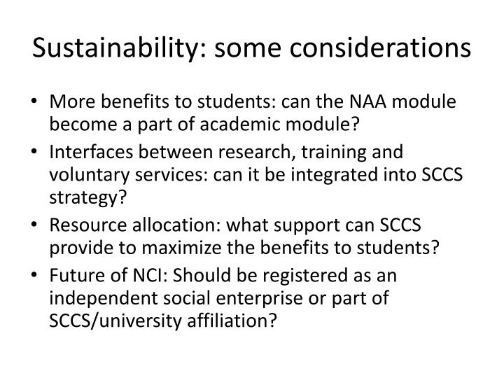 Sustainability: some considerations