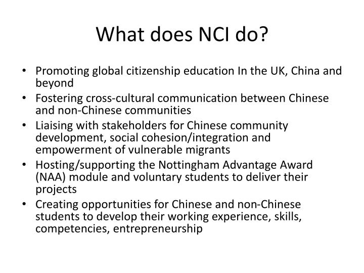 What does NCI do?